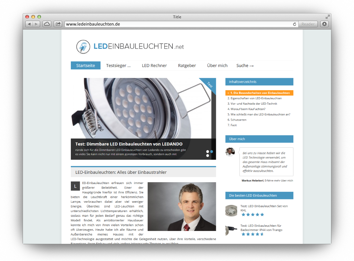 Affiliate-Seite: Ledeinbauleuchten.net