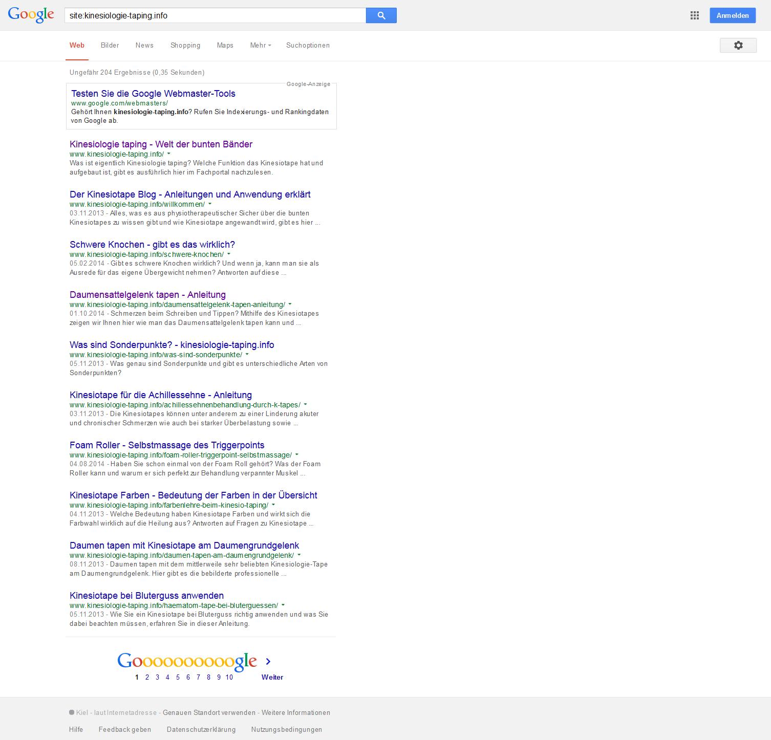 Wenn Site-Operator verwendet wird, werden sämtliche Seiten einer Domain in den Suchergenissen gelistet.