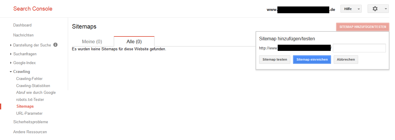 Screenshot von der Google Search Console. Hier kann die Sitemap angelegt werden