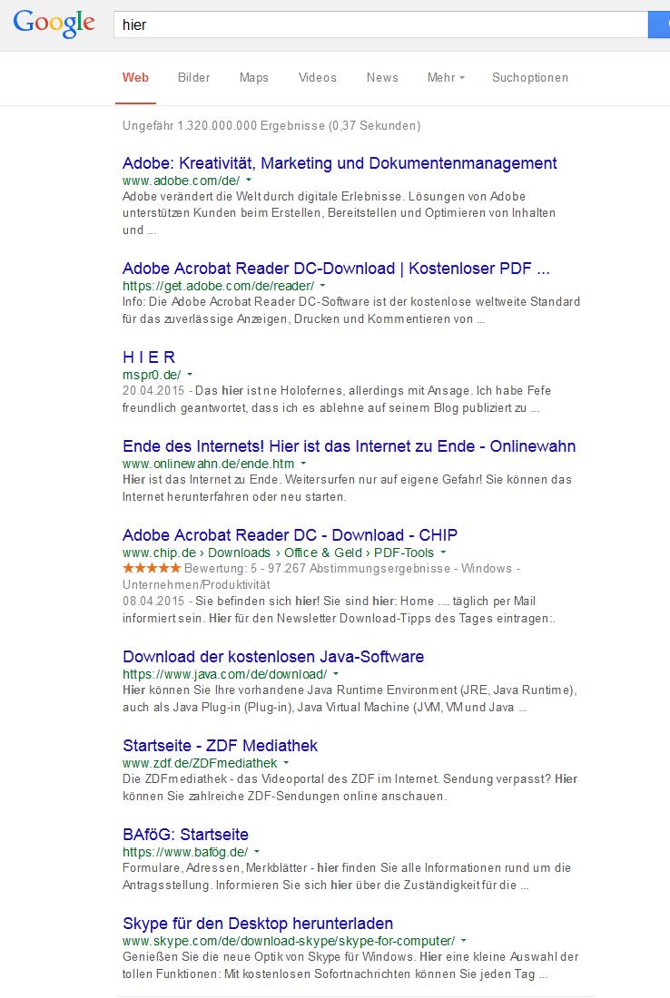 Verlinkungen aus den Suchergebnissen