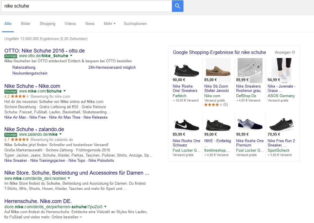 """Bezahlte Anzeigen zum Suchbegriff """"Nike Schuhe"""" bei Google"""