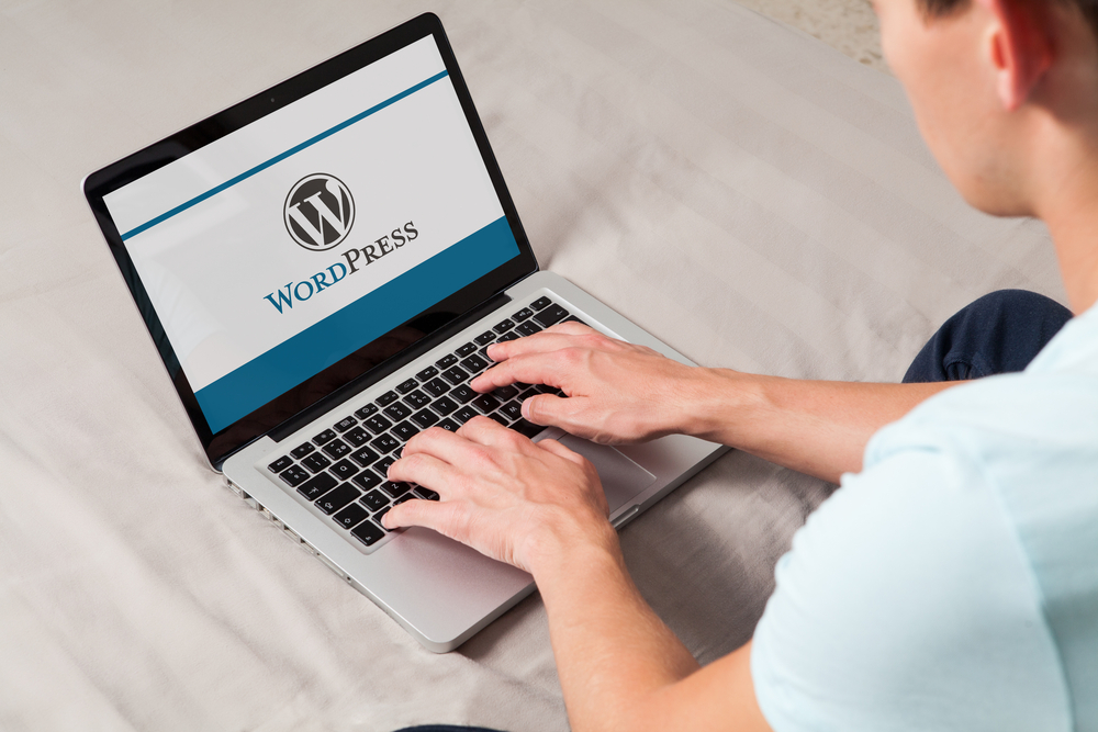 Mann arbeitet am Laptop mit WordPress