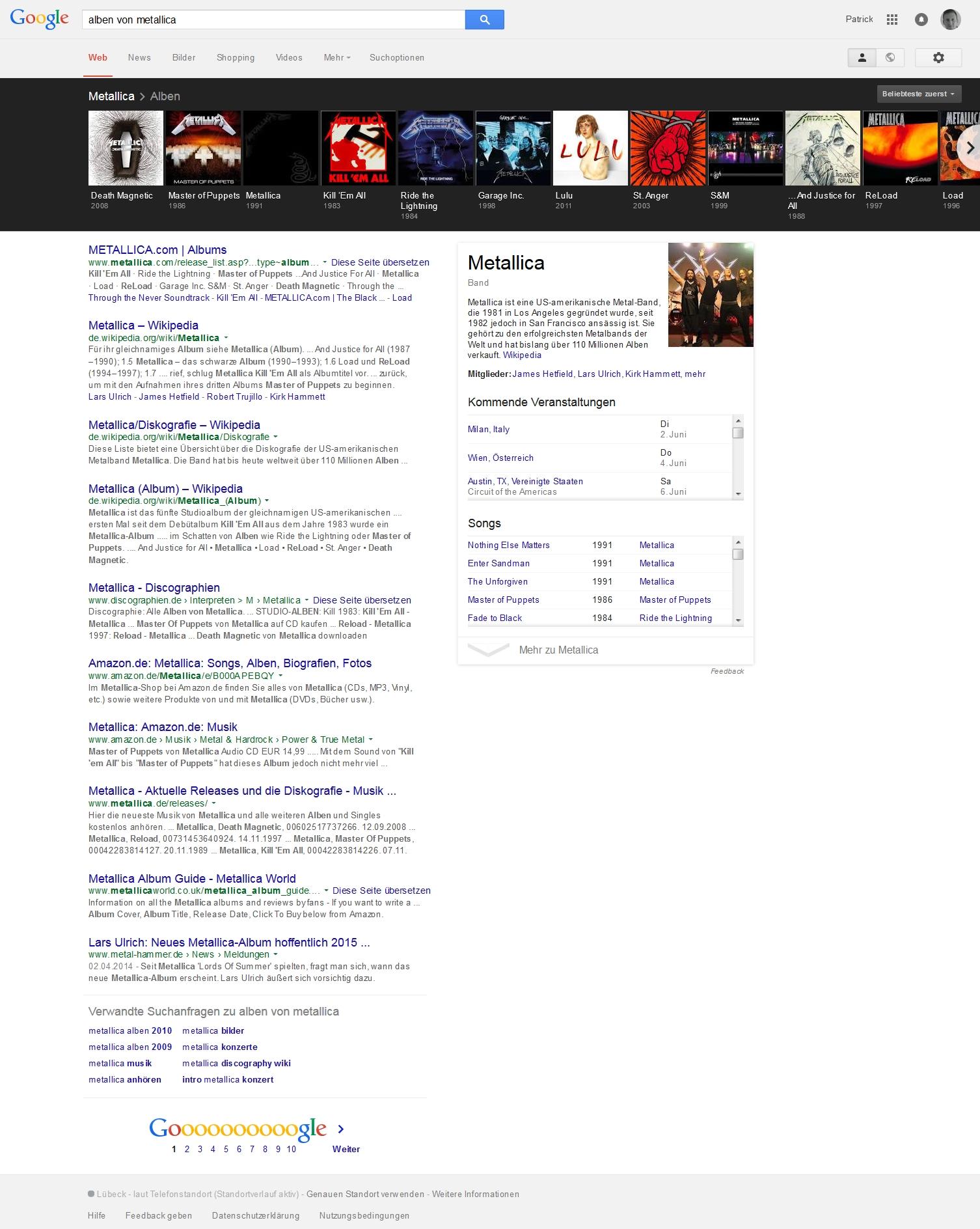 """Interaktive Suchergebnisse zum Suchbegriff """"Alben von Metallica"""" bei Google"""