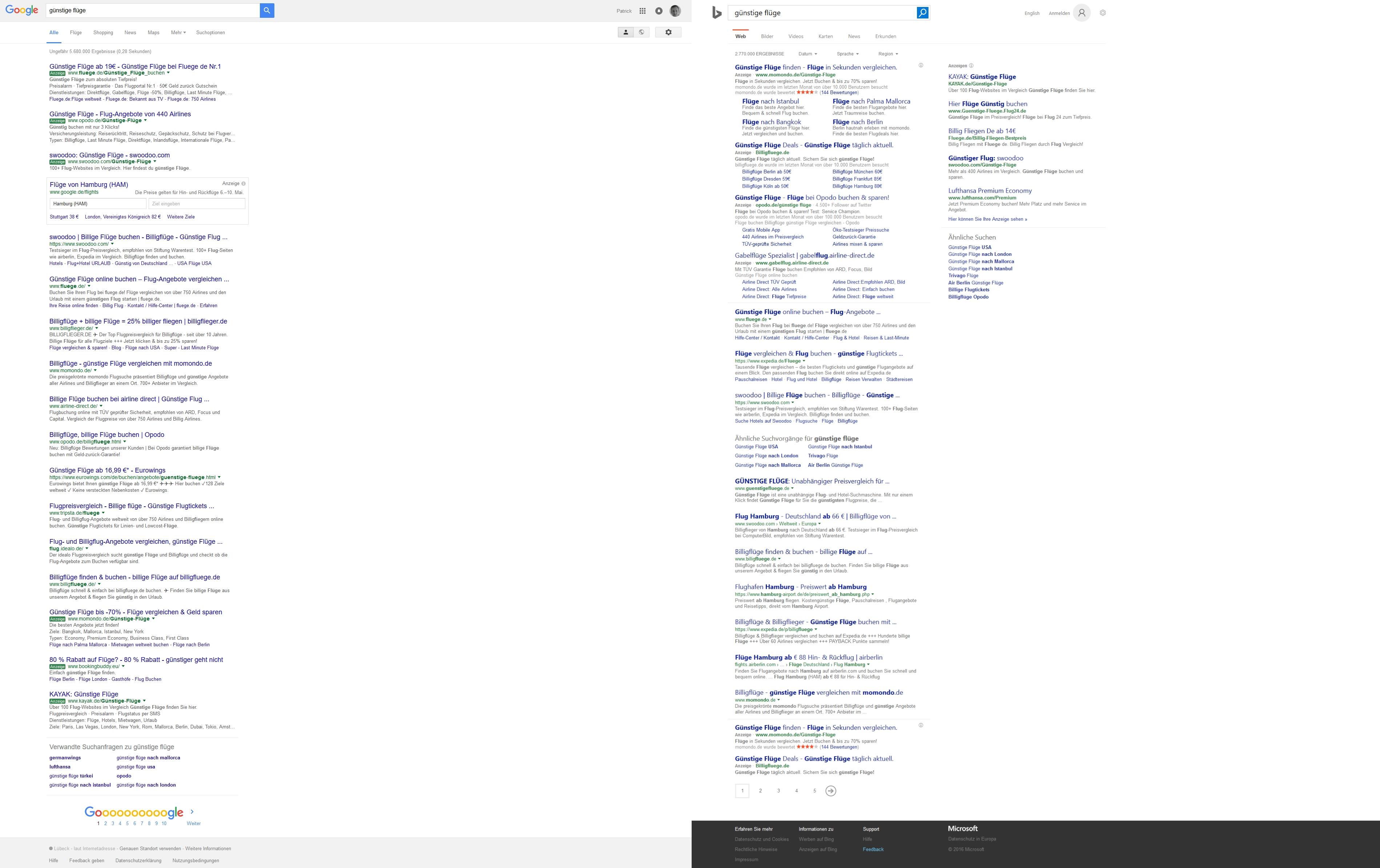 SERP bei Google und Bing
