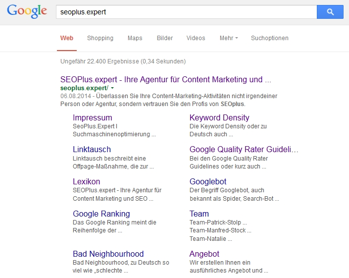 Sitelinks zu seoplus.expert bei Google